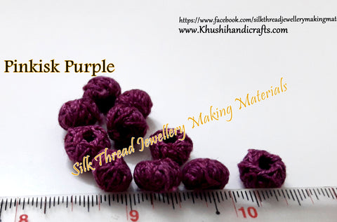 Pinkish Purple Cotton Thread Bead /Beads
