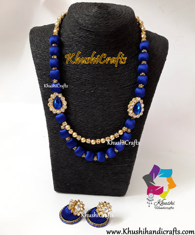 Silk Thread Jewelry in Royal Blue shade complimented with stone Moppu!