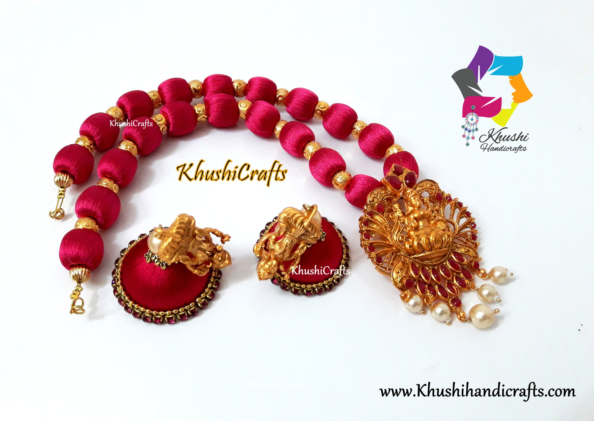Silk Thread Jewellery with Lakshmi Pendant