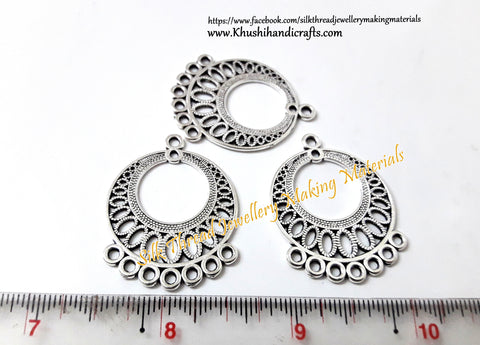 Antique Silver Round Earring Connector.Sold per pair -SP23-2