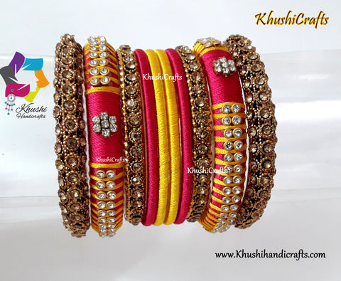 Pink and Yellow Silk Thread Designer Bangles
