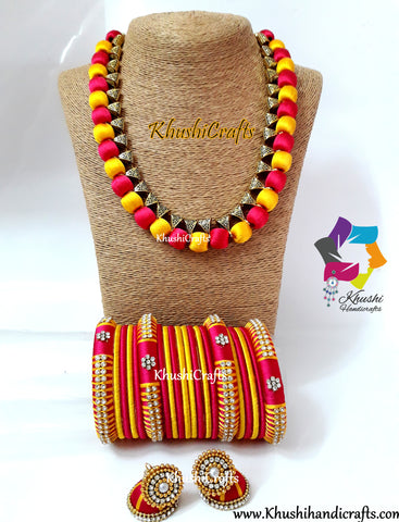 Yellow and Pink Silk Thread Jewellery Necklace set with matching bangles and jhumkas!