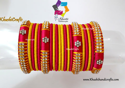 Handmade Pink and Yellow Silk Thread Bangles