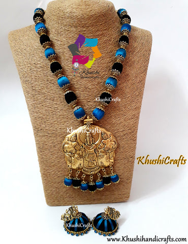Peacock Blue and Blue Silk Thread Jewelry Set with Designer Krishna Pendant!