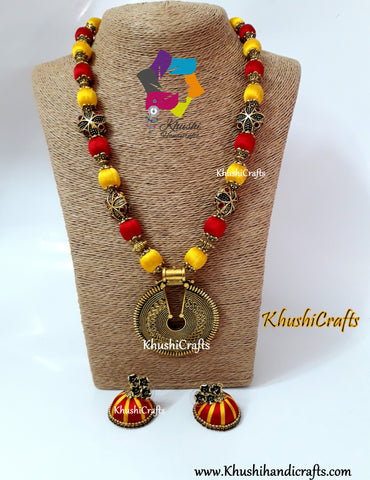 Red and Yellow Silk Thread Jewelry Set with Designer Pendant and Victorian Spacer beads!