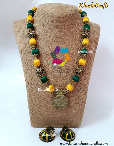 Green and Yellow Silk Thread Jewelry Set with Designer Pendant and Victorian Spacer beads!