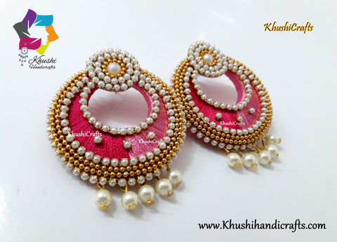 Shades of Pink Silk Thread Chandbali with Pearl work