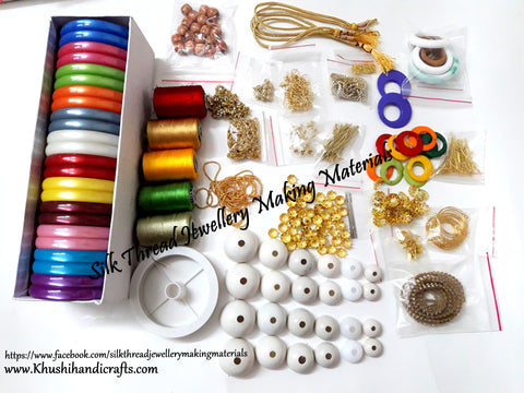 Silk Thread Jewellery Making Kit with Bases/thread spools and other Jewelry findings