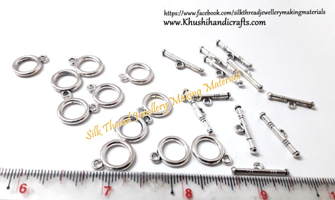Circular Toggle Clasps in Antique Silver -T22