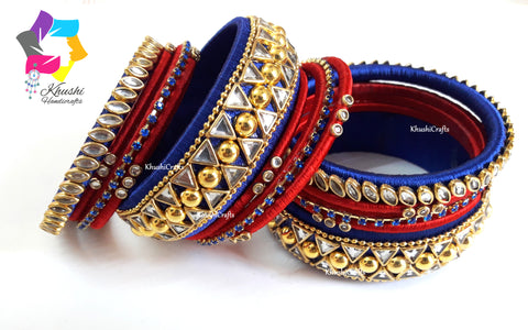 Blue and Red Silk thread Designer Bridal Chura Bangles
