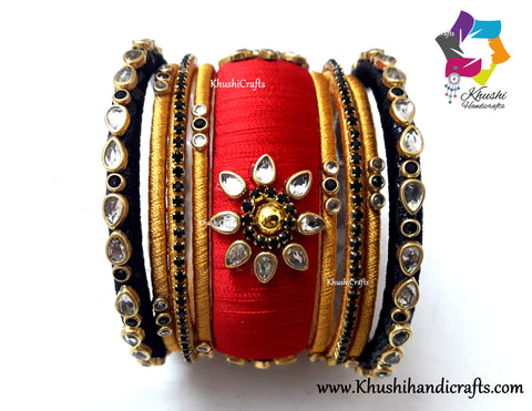 Gold,Black and Red Silk thread Designer Bangles
