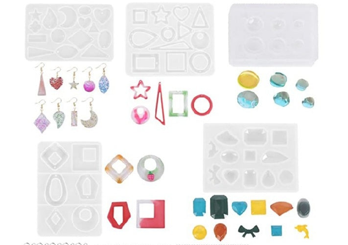 Set of 5 Designer Earring ,Pendant Geometrical Mould Silicone Mold Combo for casting UV Resin,Epoxy resin