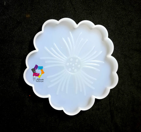 New Flower Resin Coaster Molds (2 pieces), Silicone Mould for Casting with Resin, Epoxy and Concrete
