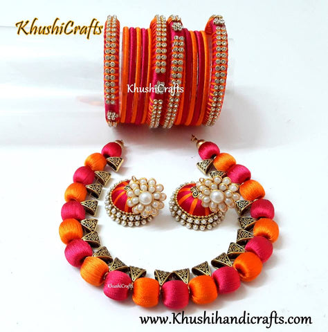 Silk Thread Jewelry in Orange and Pink with matching bangles and jhumkas!