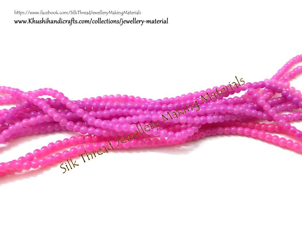 Glass beads 2 mm  in Pink