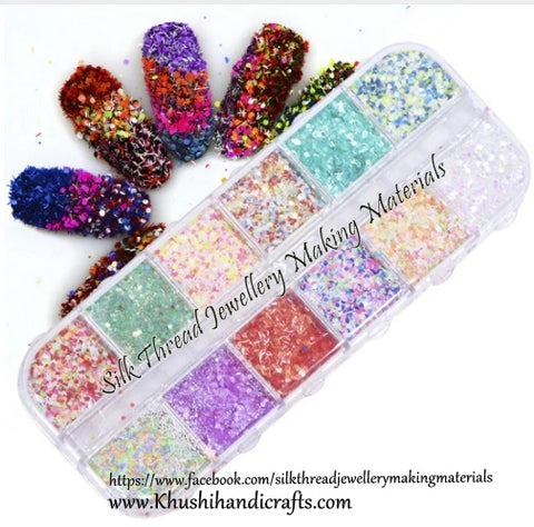 12 Sets Mixed Glitter designs For Resin Crafts ,Jewelry Mold Filling and Nail art.Set4!