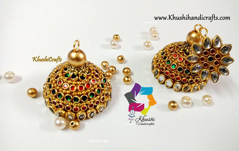 Trendy Kundan Silk thread Jhumkas