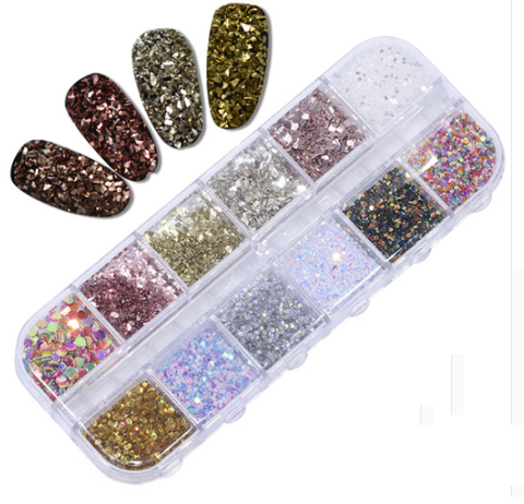 12 Sets Mixed Glitter designs For Resin Crafts ,Jewelry Mold Filling and Nail art.Set5!