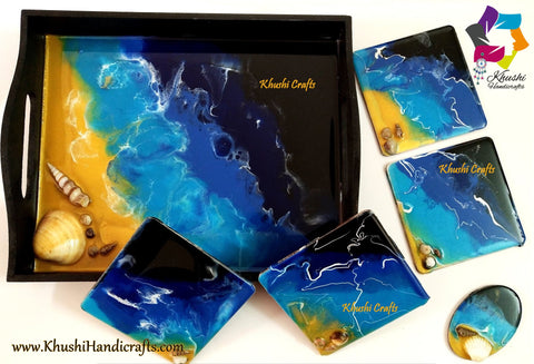 Beach themed Tray and Resin Coasters