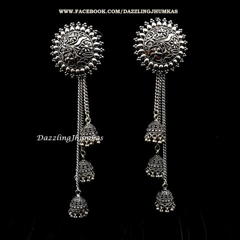 German Silver /Designer Oxidized Designer Multiple Jhumka Earrings!