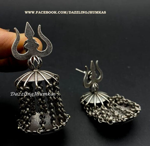 Silver Lookalike Trishul Oxidised Dangler Earrings