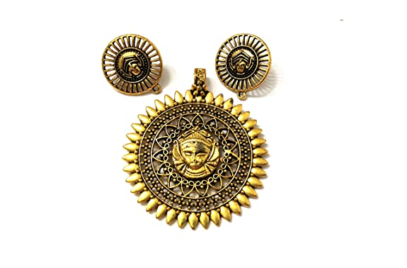 Antique Gold Designer Round Durga Pendant Stud Combo for Jewellery Making