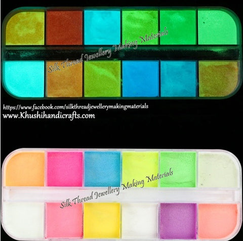 12 Colors Fluorescent Luminous Neon Glow in the Dark Powder For Resin Crafts ,Jewelry Mold Filling and Nail art.