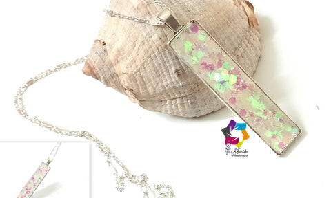 Resin Pendant necklace 4-Holographic Glitter collection