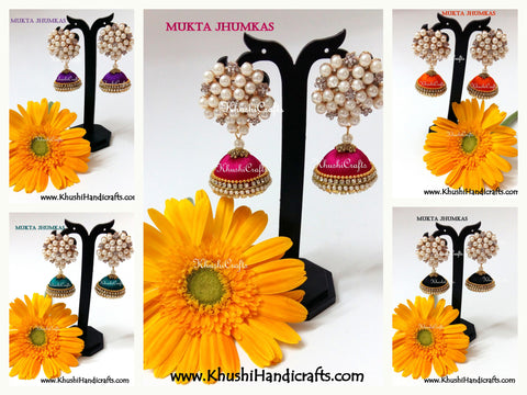 Mukta Jhumkas-Silk thread Jhumkas with a grand stone and pearl stud