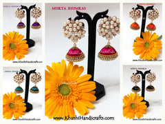 Silk thread jhumkas with designer pearl stud