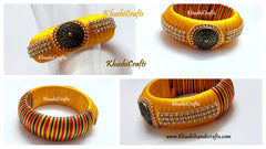 Yellow Kada style Silk thread Bangle