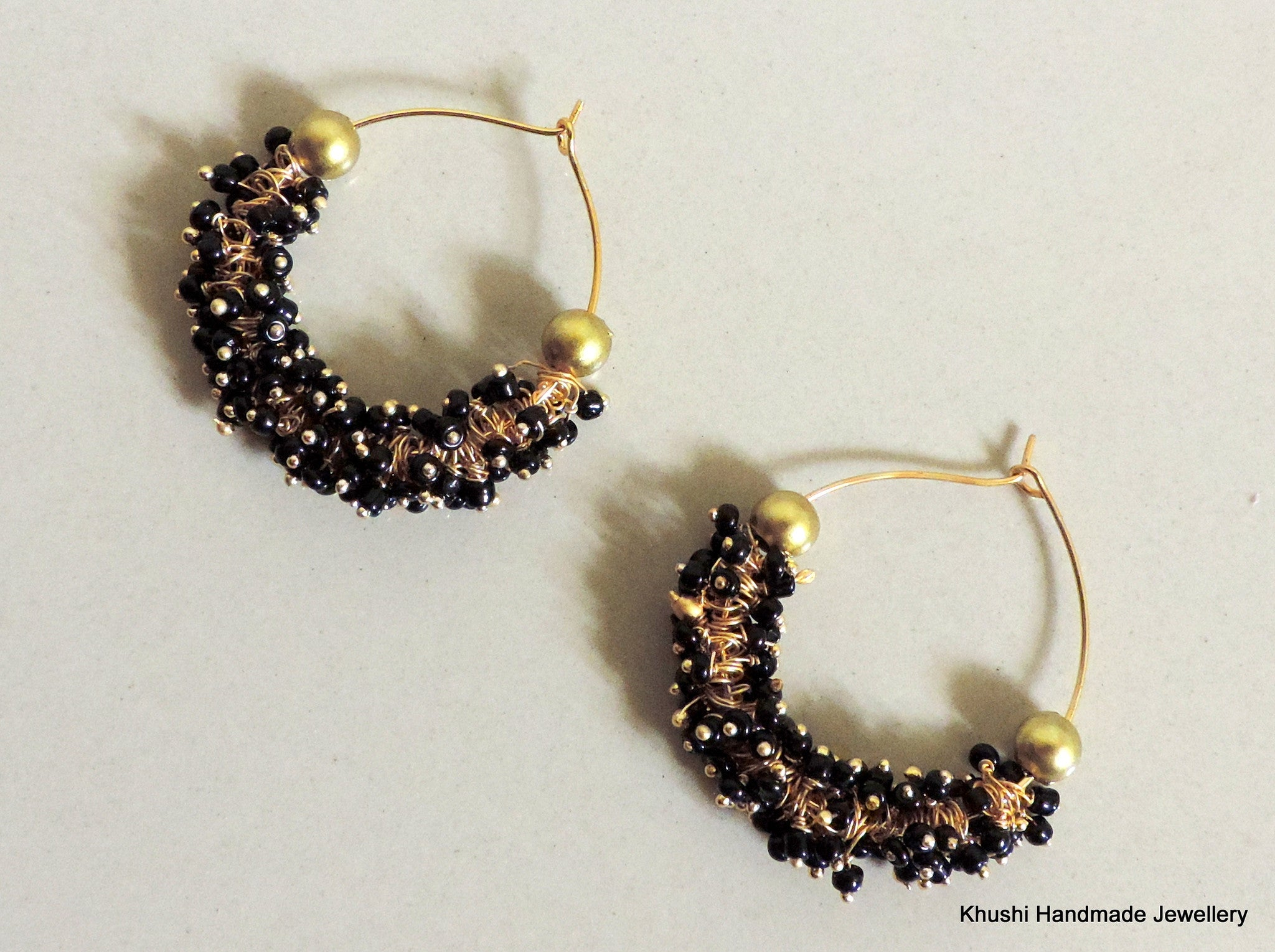 Handcrafted black hoops - Khushi Handmade Jewellery