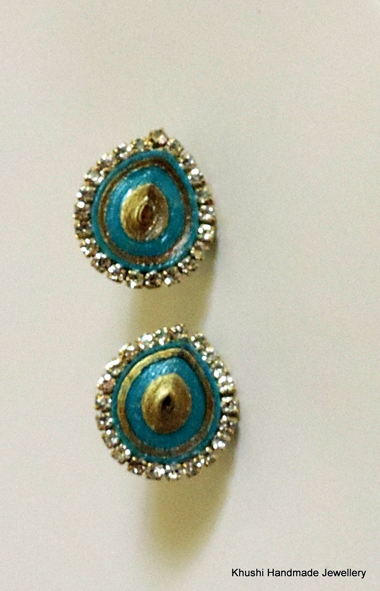 Blue studs with stone lining - Khushi Handmade Jewellery