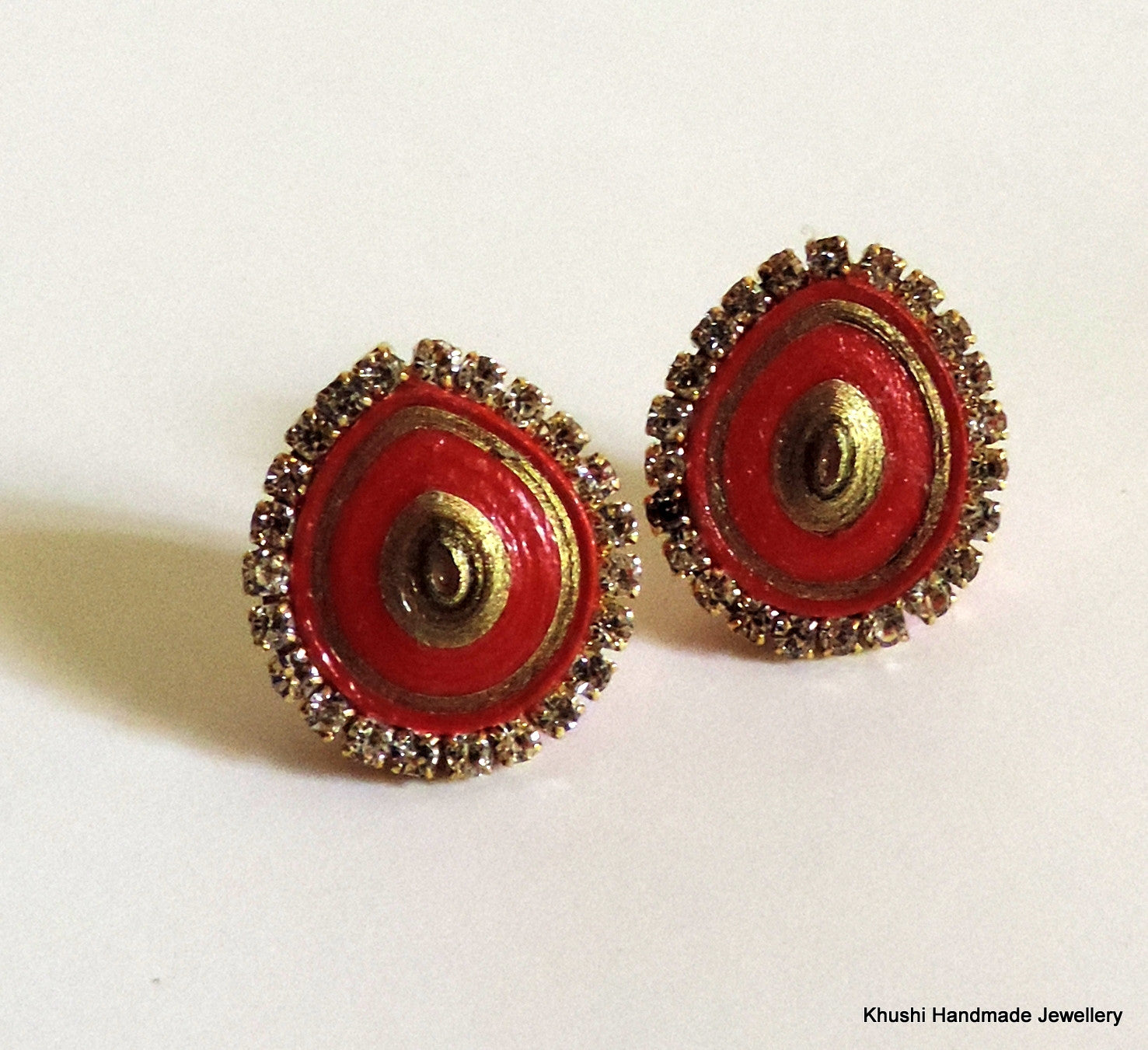 Red studs with stone lining - Khushi Handmade Jewellery