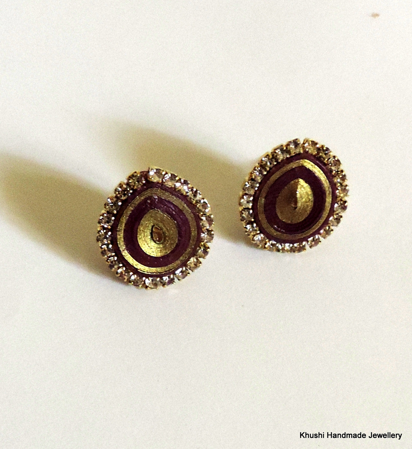 Purple studs with stone lining - Khushi Handmade Jewellery