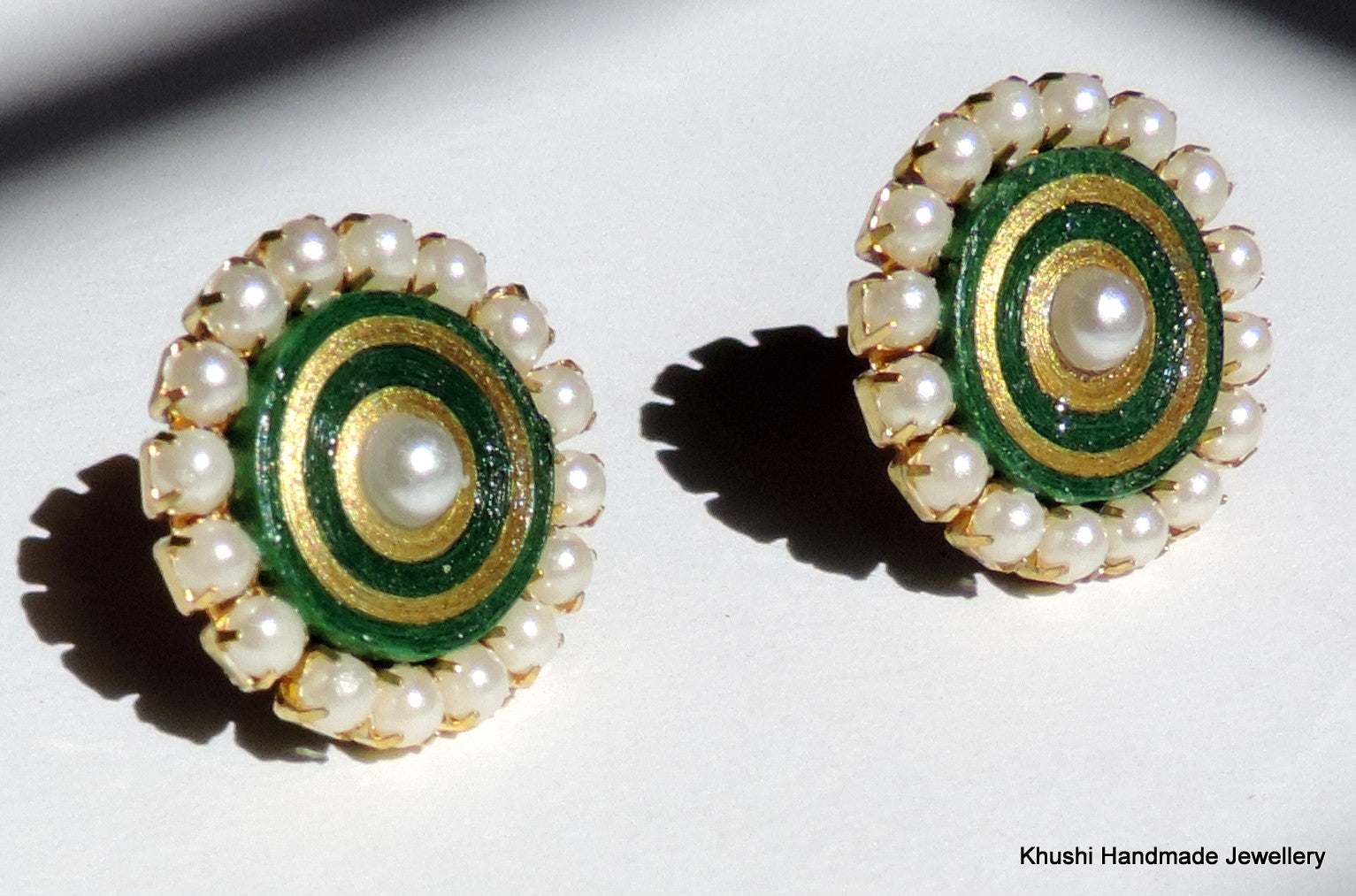 Green studs with pearl lining - Khushi Handmade Jewellery