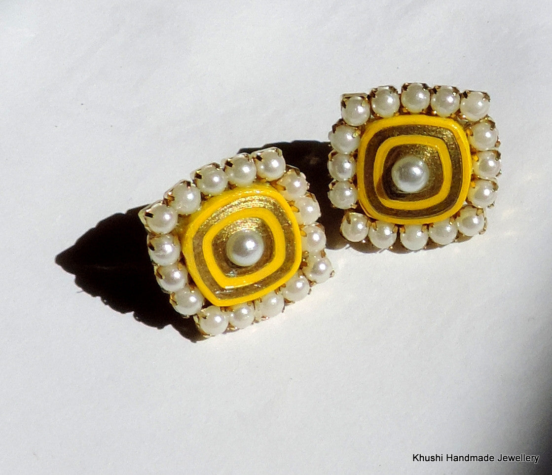 Yellow studs with pearl lining - Khushi Handmade Jewellery