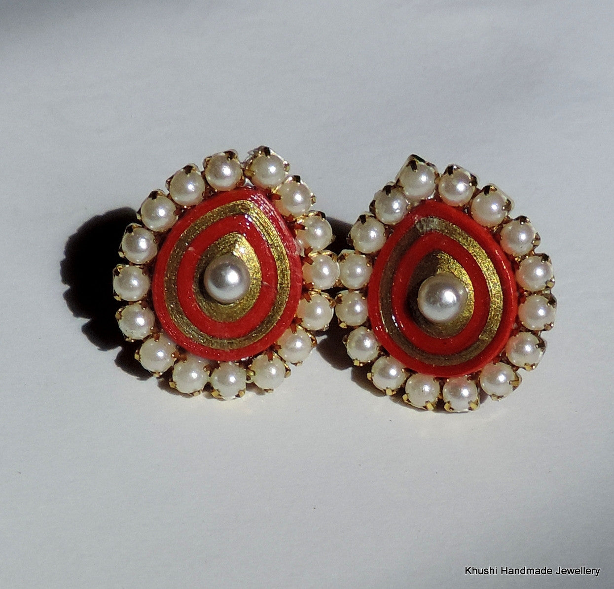 Red studs with pearl lining - Khushi Handmade Jewellery