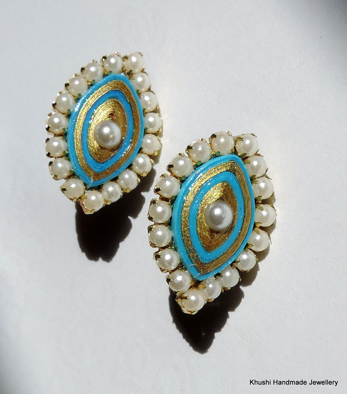 Blue studs with pearl lining - Khushi Handmade Jewellery