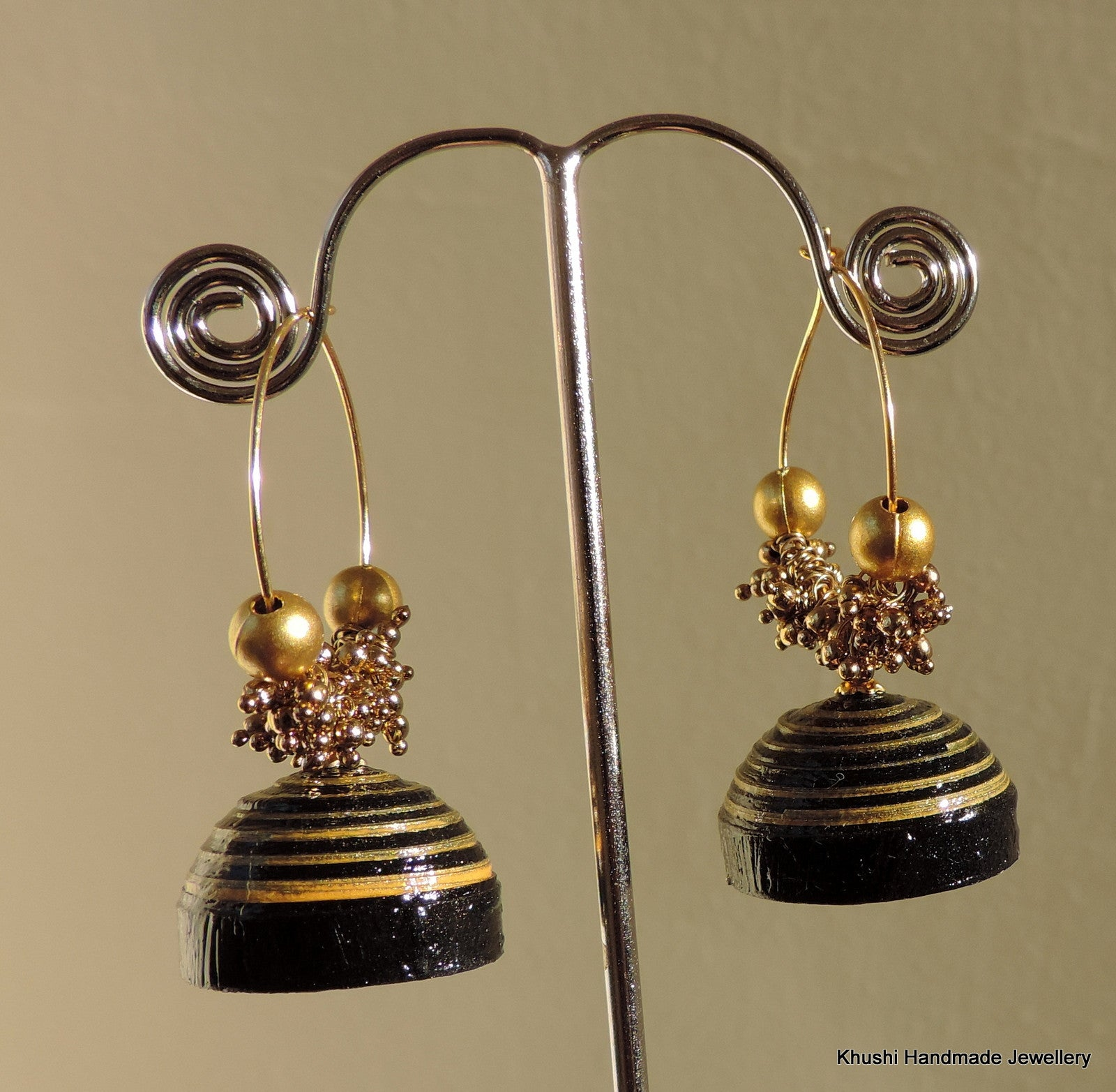 Black and gold Jhumka - Khushi Handmade Jewellery