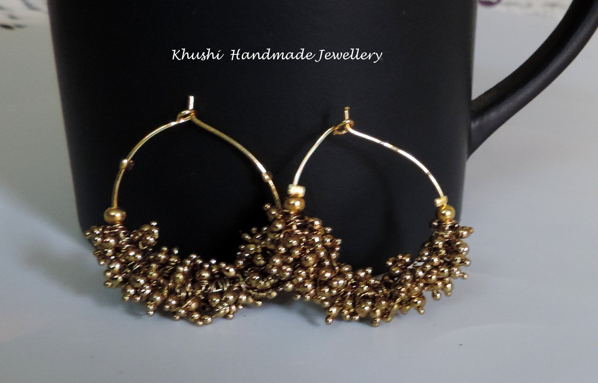 Handcrafted gold hoops - Khushi Handmade Jewellery