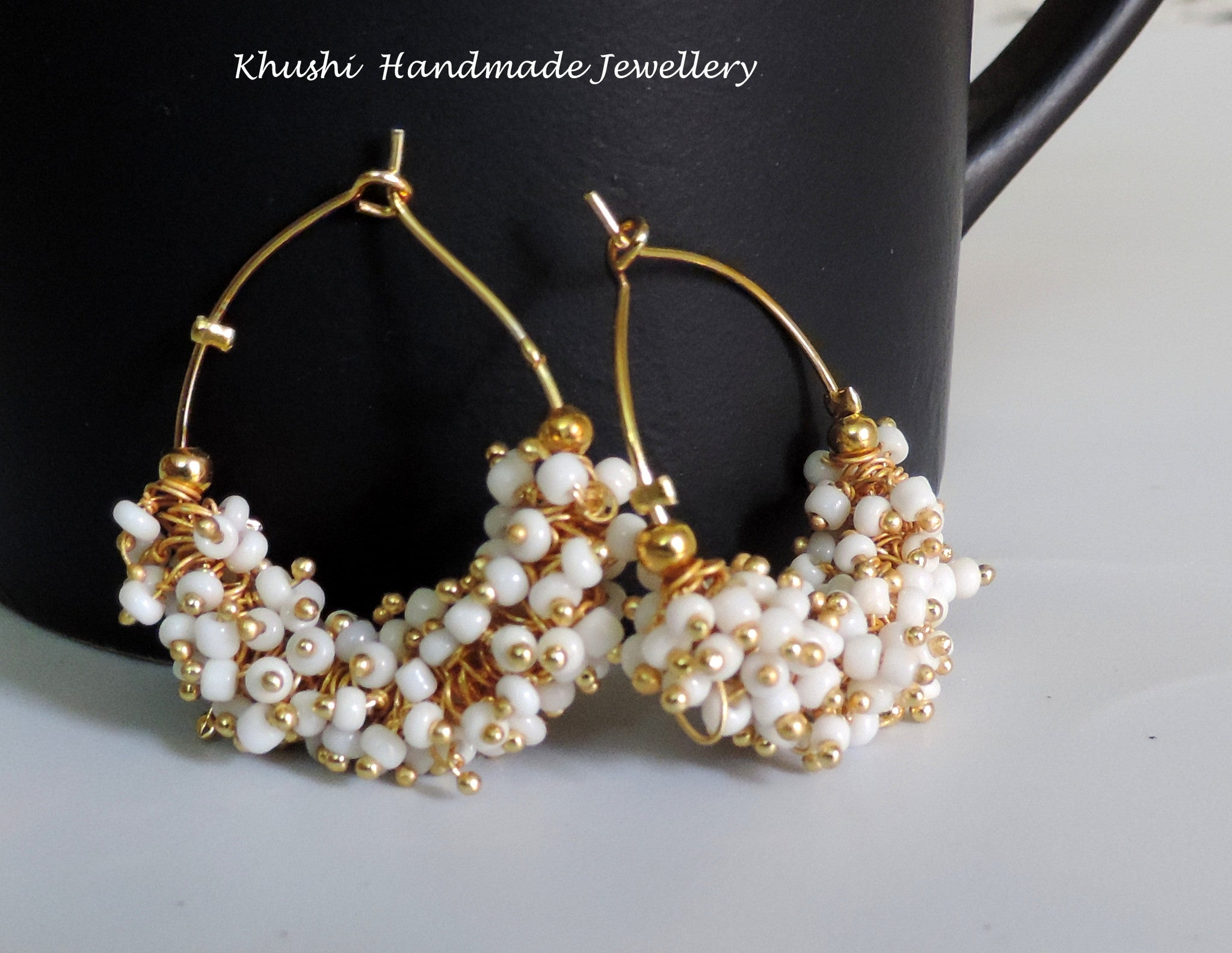 Handcrafted white hoops - Khushi Handmade Jewellery
