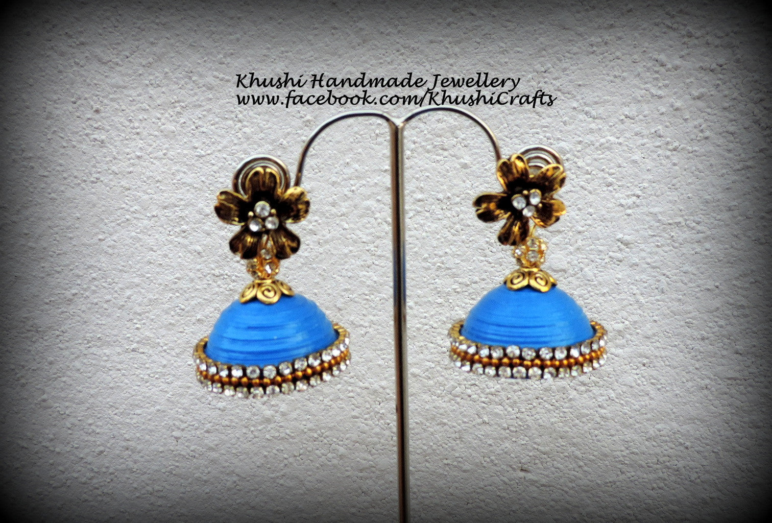 Quilled handmade blue party wear Indian Jhumkas!