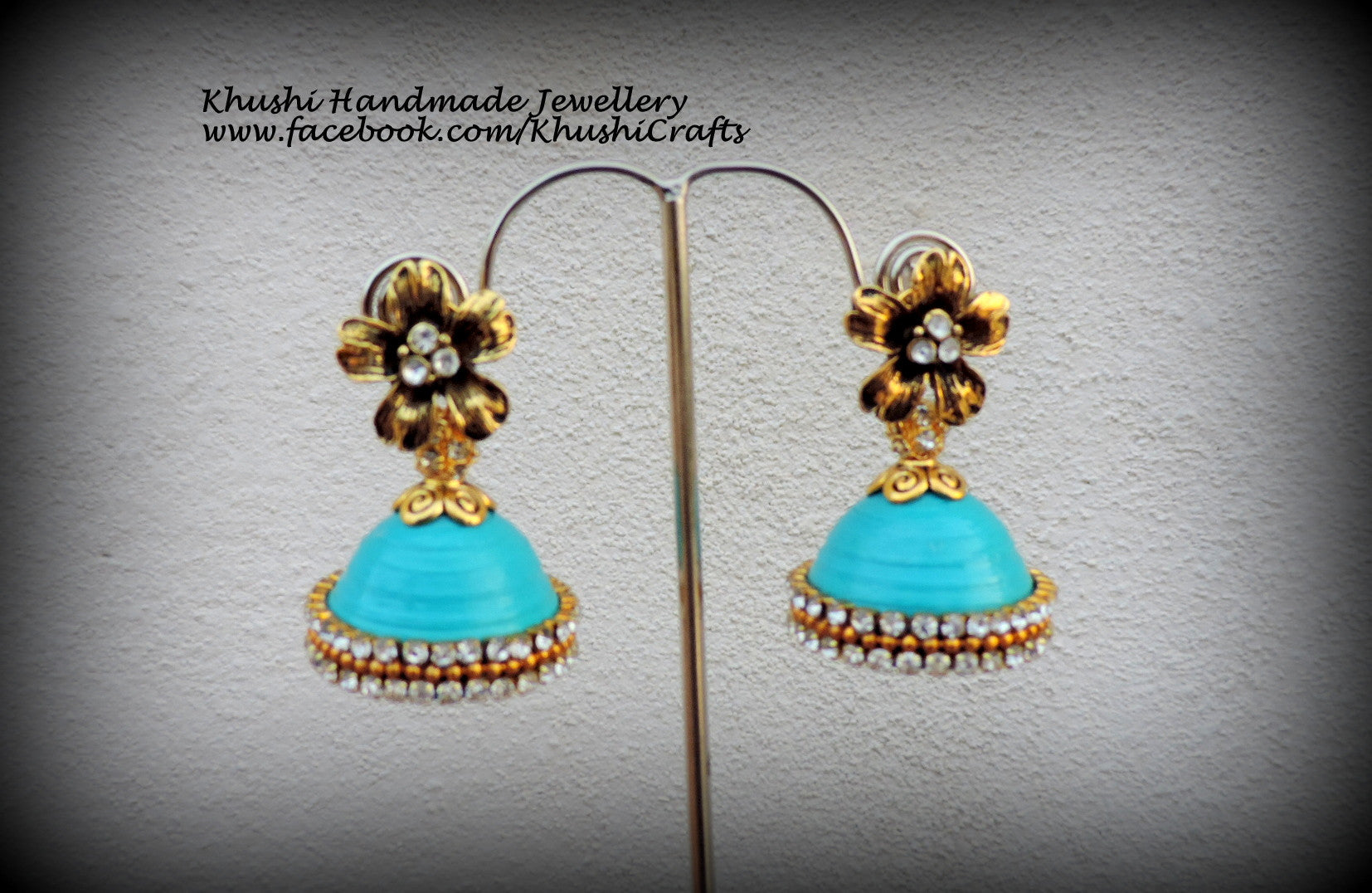 Quilled Sea blue party wear Jhumkas