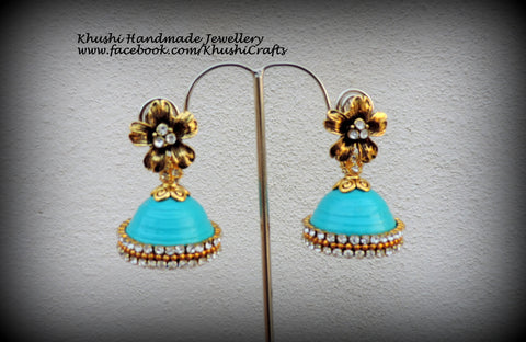 Quilled Sea blue party wear Jhumkas!