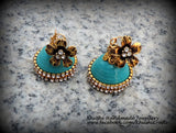 Quilled Sea blue party wear Jhumkas! - Khushi Handmade Jewellery