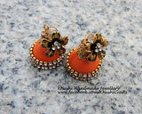 Quilled handmade orange party wear Jhumkas!