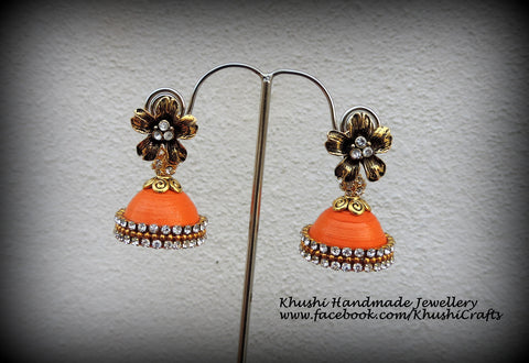 Quilled orange party wear Jhumkas!