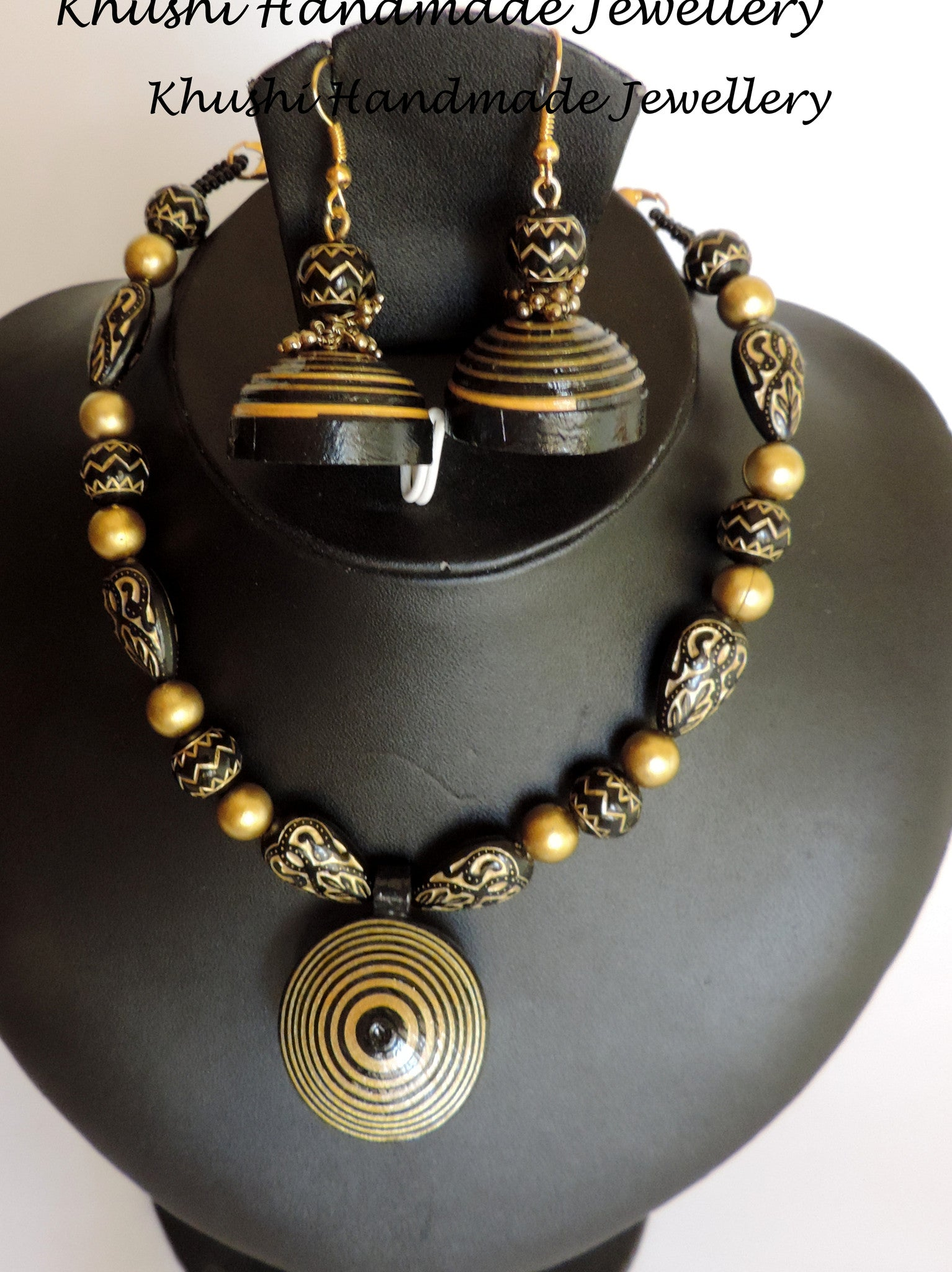 Classic Gold-black Necklace set - Khushi Handmade Jewellery