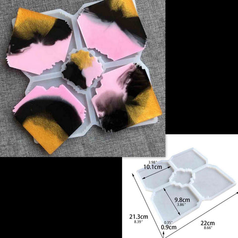 New Pattern Irregular Center piece Coaster Mould - Silicone Mold - Resin Mould